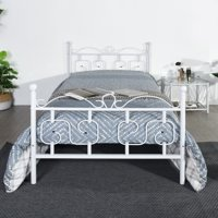 HOMY CASA Metal Platform Bed Frame Twin Size,Non Slip Mattress Foundation with Storage and Headboard Vintage Style