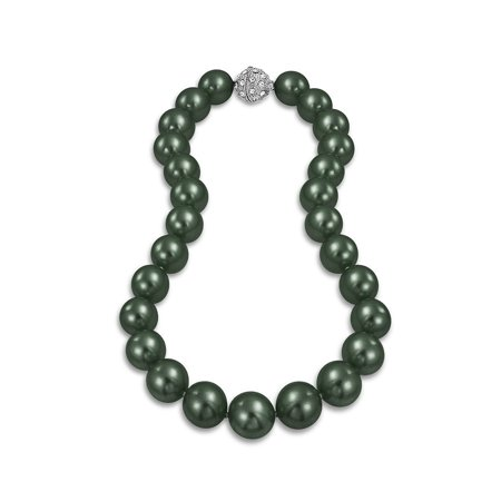 Large Hand Knotted Peacock Black Shell Simulated Pearl Strand Necklace For Women Crystal Ball Clasp 14MM Black Strand Cross