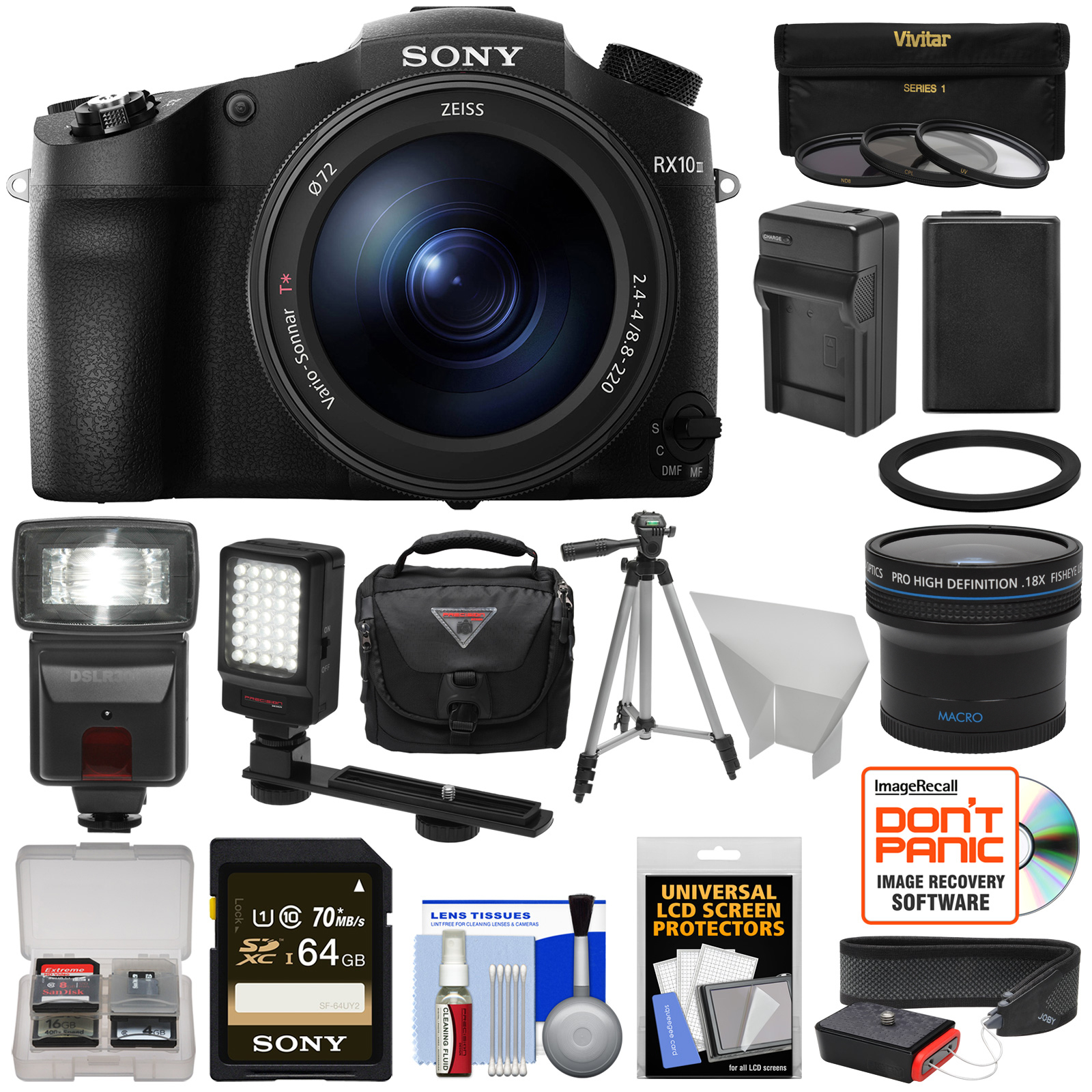 Sony Cyber-Shot DSC-RX10 III 4K Wi-Fi Digital Camera with 64GB Card + Battery & Charger + Case + Tripod +... by Sony
