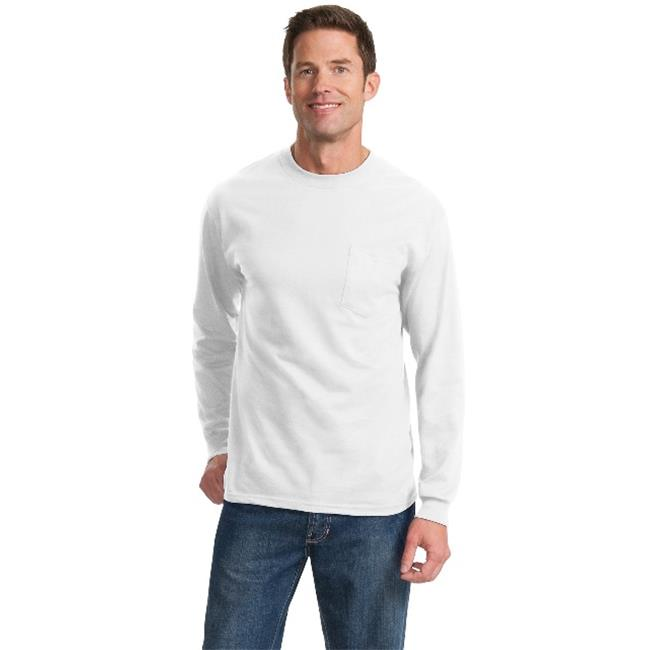 Port & Company PC61LSPT Mens Long Sleeve Essential Pocket Tees, White - 3XL Tall - image 1 of 1