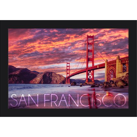 San Francisco, California - Golden Gate Bridge & Sunset - Lantern Press Photography (18x12 Giclee Art Print, Gallery Framed, Black Wood)