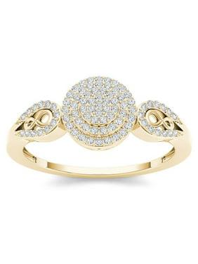 1/5ct TDW Diamond 10K Yellow Gold Halo Engagemet Ring