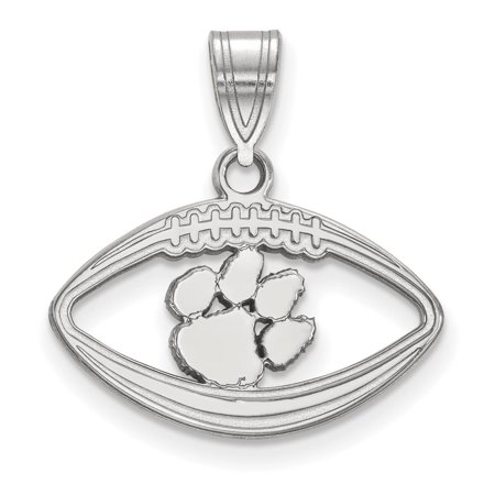 Clemson  Pendant in Football (Sterling Silver)