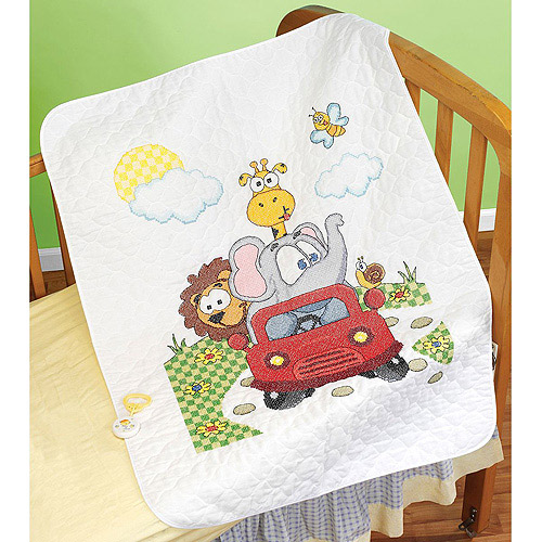 "Animal Fun Ride Quilt Stamped Cross Stitch Kit, 34"" x 43"""
