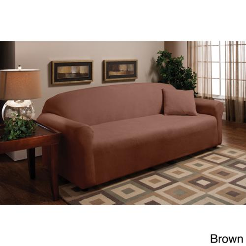 Stretch Microfleece Sofa Slipcover Brown