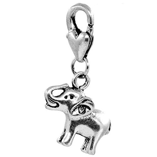Clip on Elephant Charm Pendant for European Jewelry w  Lobster Clasp by
