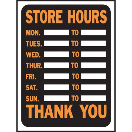 Hy-Ko Store Hours Sign (Set of 10) ()