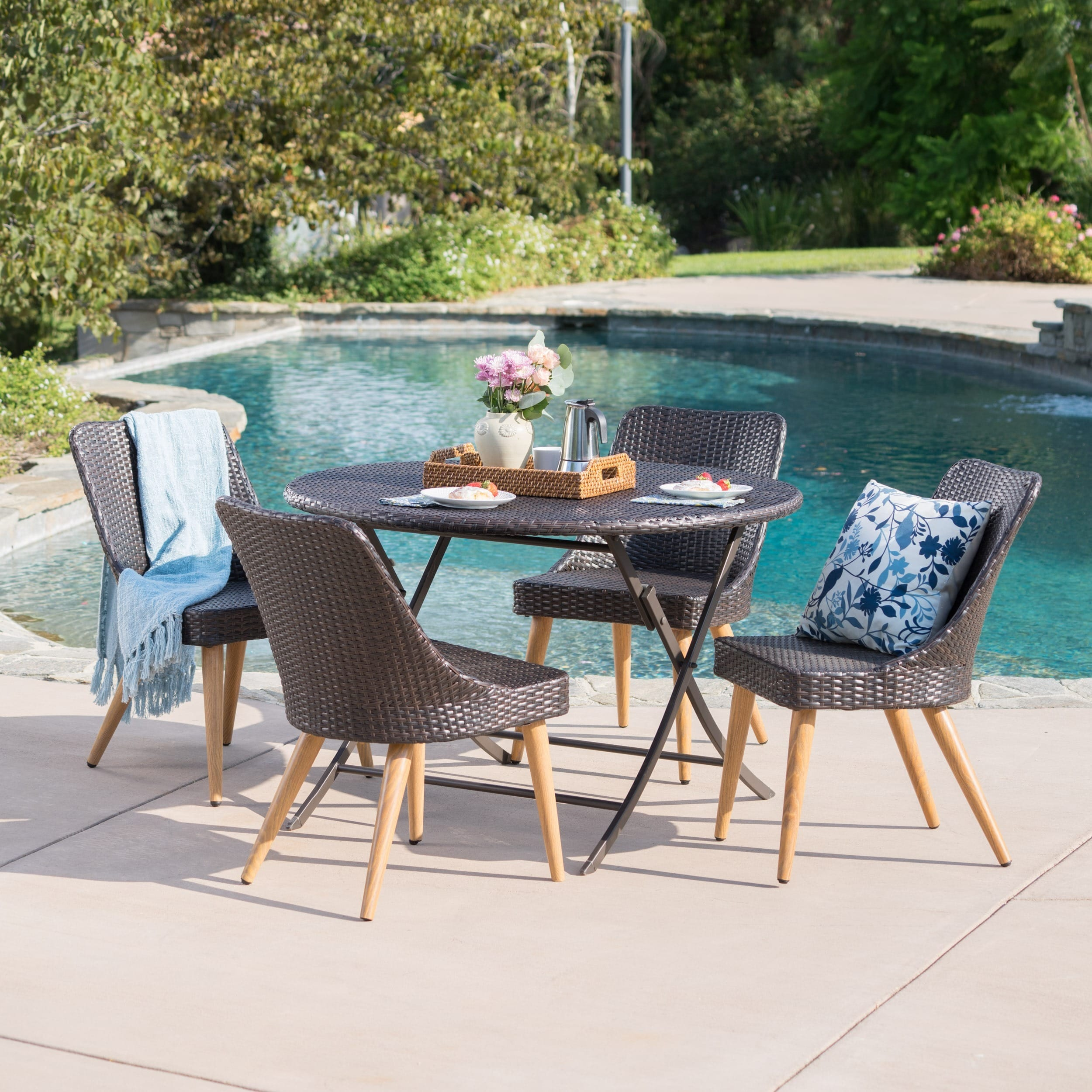 Christopher Knight Home Opal Outdoor 5-Piece Round Foldable Wicker Dining Set with Umbrella Hole by