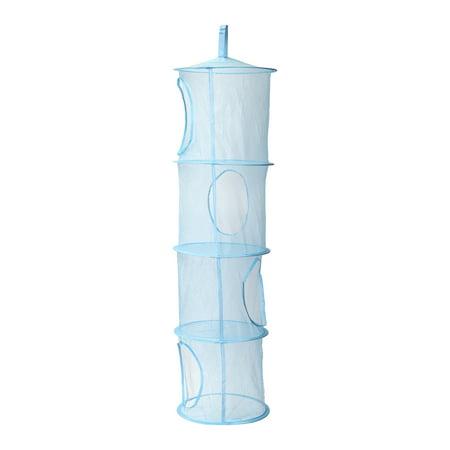 TKOOFN 4-Tier Hanging Mesh Storage Organizer Foldable Space Saver Toy Basket Blue