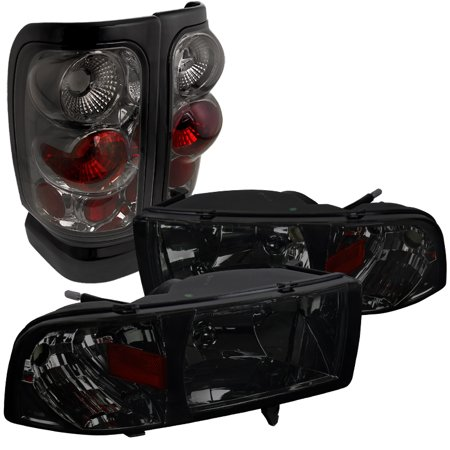 Euro Tail Lamps Crystal - Spec-D Tuning 1994-2001 Dodge Ram Euro Smoke Tinted Crystal Head Lights + Tail Brake Lamps (Left + Right) 94 95 96 97 98 99 00 01