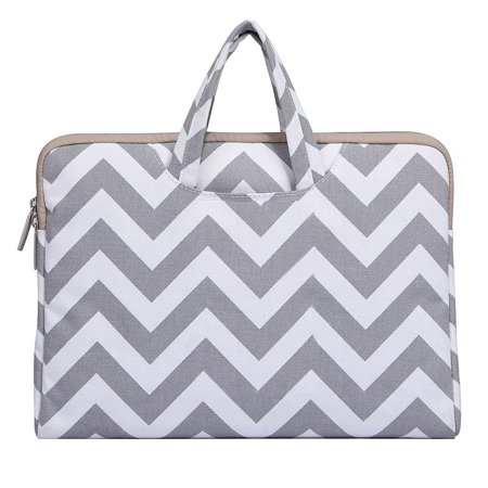 Vinyl Womens Briefcase (Chevron Style Canvas Fabric Laptop Briefcase Handbag Carrying Case Cover for 13-13.3 Inch MacBook Pro, MacBook Air, Notebook Computer,)