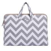 Chevron Style Canvas Fabric Laptop Briefcase Handbag Carrying Case Cover for 13-13.3 Inch MacBook Pro, MacBook Air, Notebook Computer, Gray