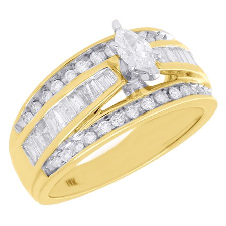 14K Yellow Gold Genuine Solitaire Marquise Diamond Ladies Engagement Ring 1 (1/2 Ct Marquise)