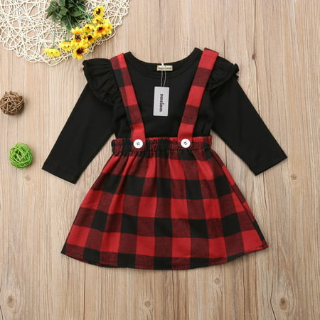 Girls 70s Clothes (Fashion Christmas Princess Kids Baby Girls 2PCS Outfits Clothes Tops T shirt Plaid Overalls Skirts Party Dress)