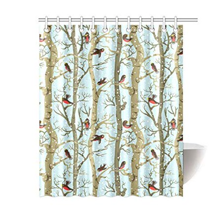 MKHERT Birds On Trees Shower Curtain Bath Waterproof Fabric Polyester Curtains 60x72 Inch