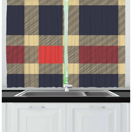 Checkered Curtains 2 Panels Set, Vintage Plaid Tartan Pattern Design Retro Display Checks Cross Lines, Window Drapes for Living Room Bedroom, 55W X 39L Inches, Dark Blue Coral Cream, by