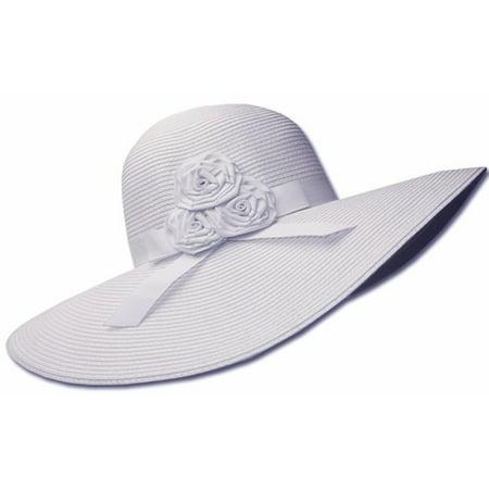 5a88a62e93e Sakkas - Sakkas Womens UPF 50+ 100% Paper Straw Ribbon Flower Accent Wide  Brim Floppy Hat - White - One Size - Walmart.com