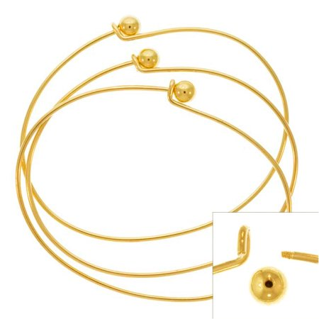 22K Gold Plated Wire Beading Bracelet With Ball - Add A Bead (3 Bracelets) (Vermeil Gold Plated Bali Bead)