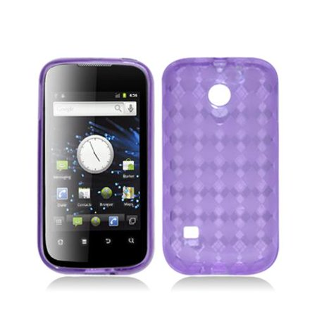 Purple with Crystal Plaid Pattern TPU Case Cover for Huawei Ascend 2