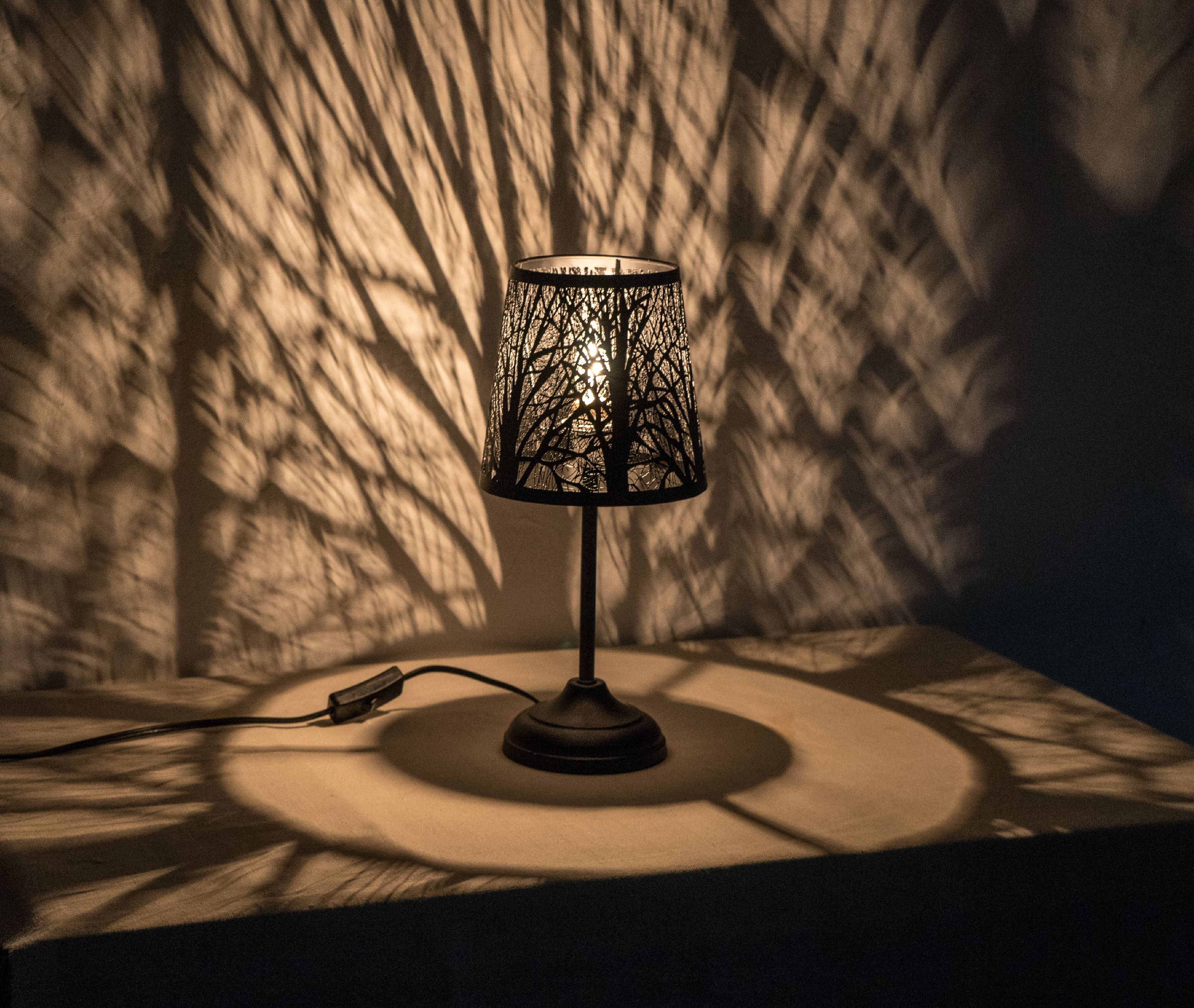 "15"" Hollowed-out Metal Forest Antique Black Table Lamp by LIVEDITOR LIGHTING"