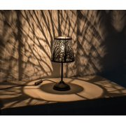 """15"""" Hollowed-out Metal Forest Antique Black Table Lamp"""