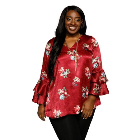 Xehar Women's Plus Size Casual Satin V-Neck Floral Print Ruffle Tunic Blouse Top