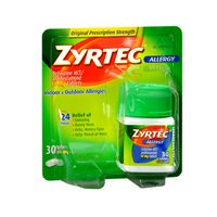 ZYRTEC TABLETS 10MG OTC 30 (Pack of 4)