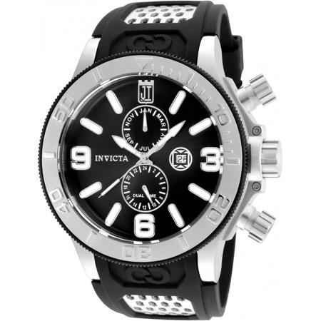 25186 Men's Jason Taylor Black Dial Black Polyurethane Strap Dive Watch ()