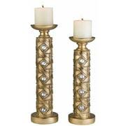 "Ok Lighting Ok-4260-C4 14"" and 16"" Candleholder Set, Gold"