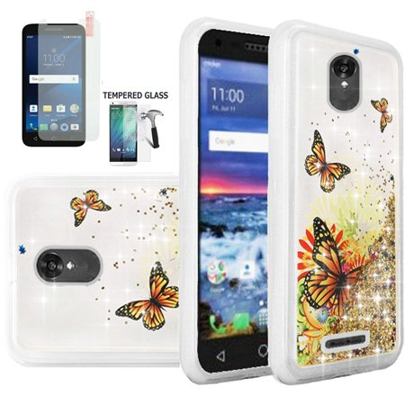reputable site ba00f 4847c Phone Case for Alcatel Raven A574BL, Alcatel Verso, Alcatel IdealXcite,  Alcatel Cameo-X Tempered Glass Screen with Cover (Liquid Quicksand ...