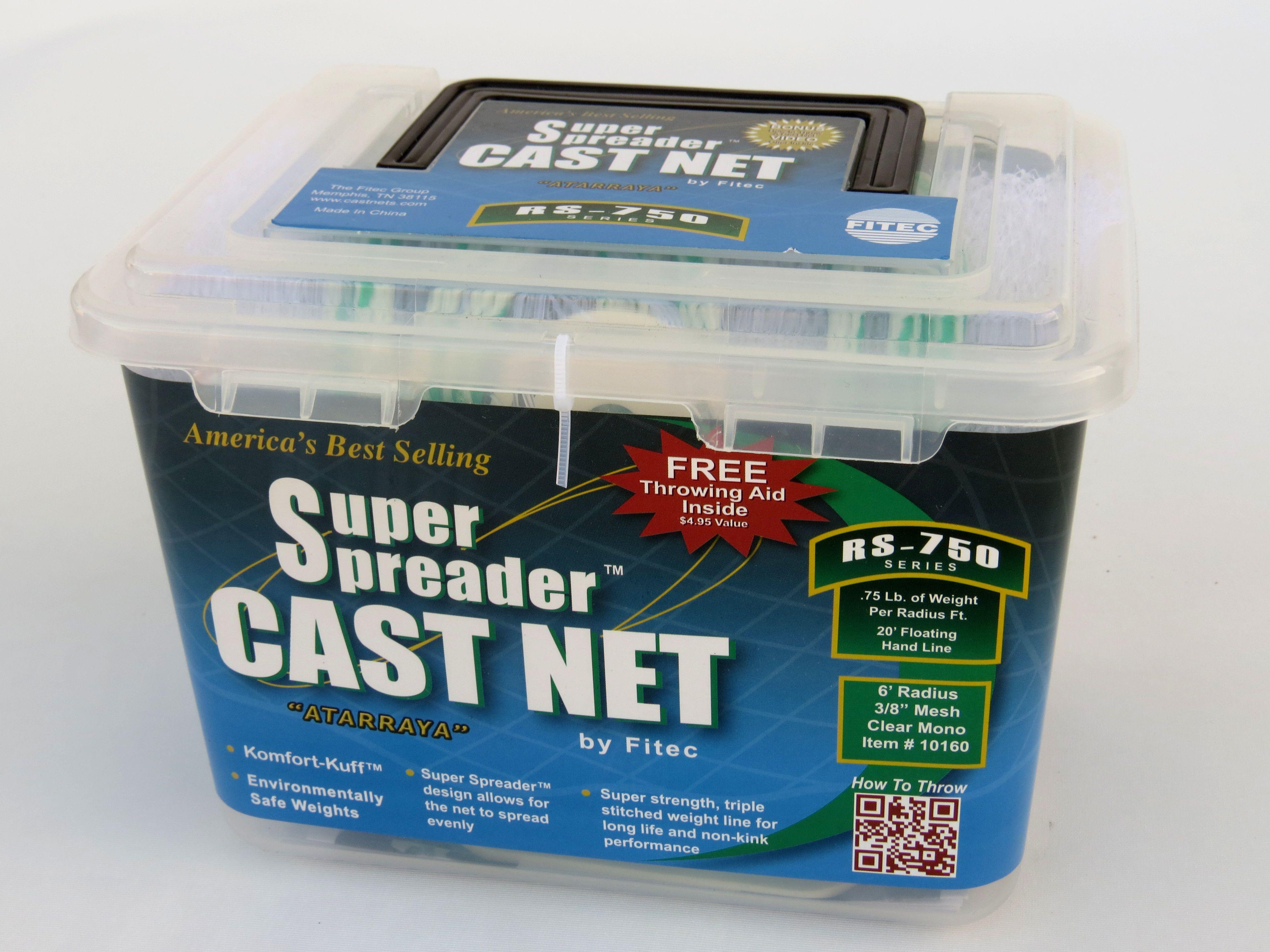 Nylon Super Spreader Cast Net 5 ft Cast Net 3//8 Sq. Mesh 10050