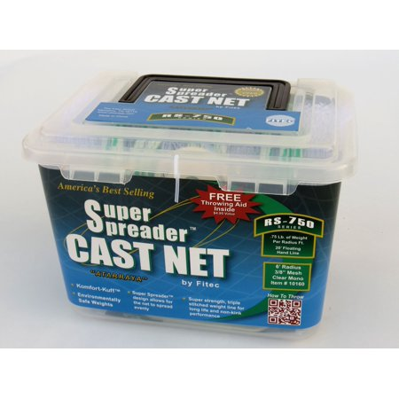 FITEC RS750 Super Spreader Cast Net White Nylon 4' x 3/8