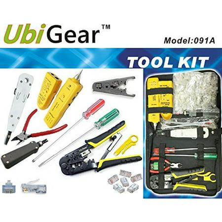 UbiGear Cable Finder Toner Probe Tester + Crimp Crimper + 50 Pcs RJ45 CAT5e Pas-through Connector Plug Network Tool Kits ()