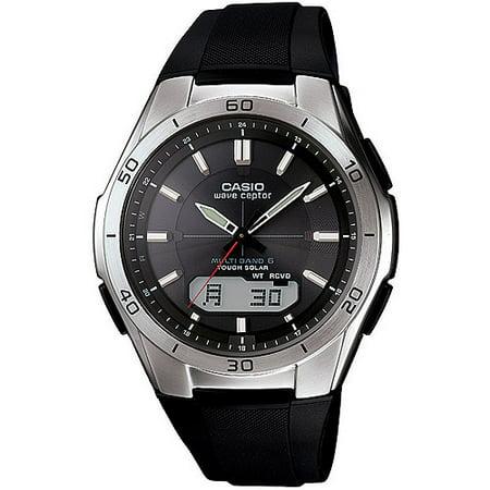 Casio Mens Waveceptor Solar Atomic Ana Digi Watch  Black Resin Strap