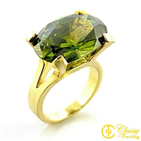Classy Not Trashy® Size 5 Olivine Color Cubic Zirconia Brass Gold Plated Ring