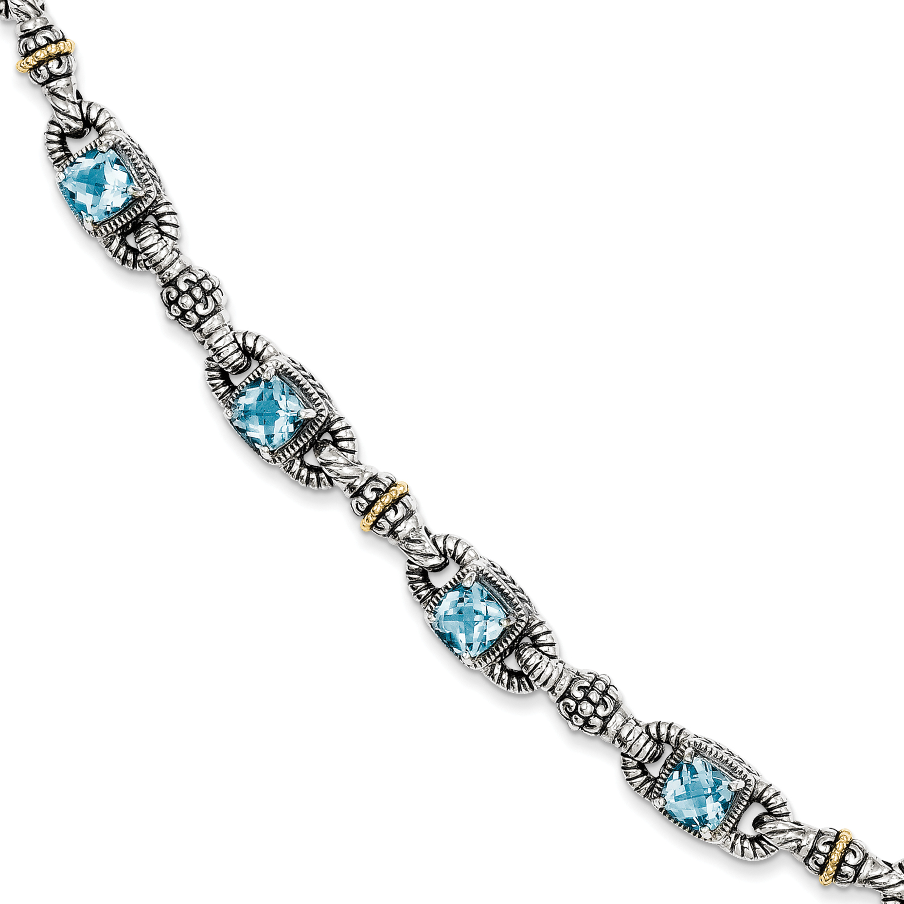 Sterling Silver w 14k Sky Blue Topaz Bracelet by Saris and Things QG