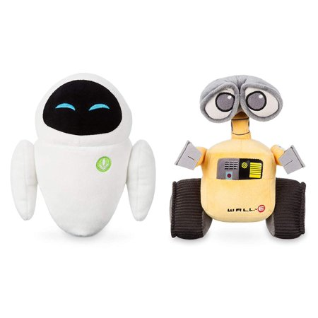 Wall-E and Eve Plush Doll | Deluxe Collector Mini Bean Bag Figure Robot (Set of 2) | Disney Pixar Movie Merchandise Cartoon Collectible Character Toy | Small 7