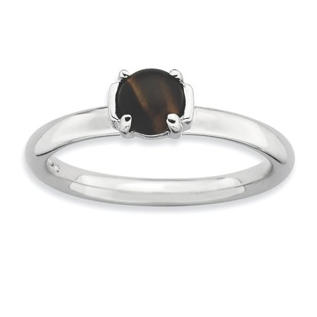 Sterling Silver Stackable Expressions Tigers Eye Rhodium-plated Ring Size 7 - image 1 of 3