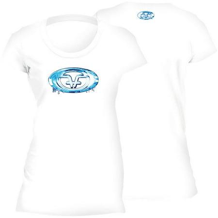 Flying Fisherman Water Logo Ladies Tee, White, S