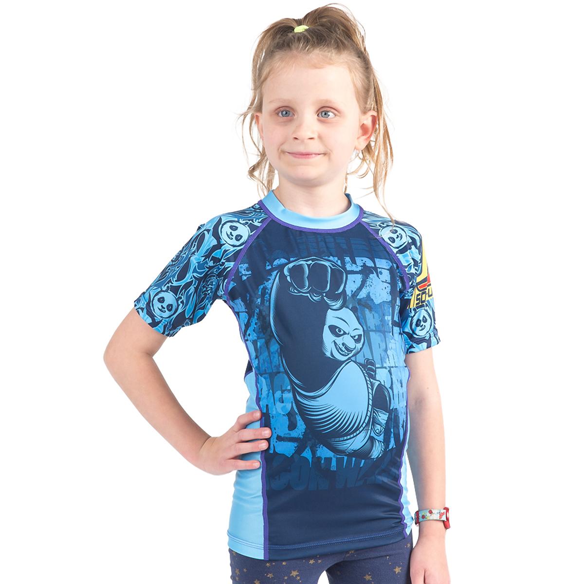 Fusion Fight Gear Kid's KFP Dragon Warrior Short Sleeve Rashguard - Blue