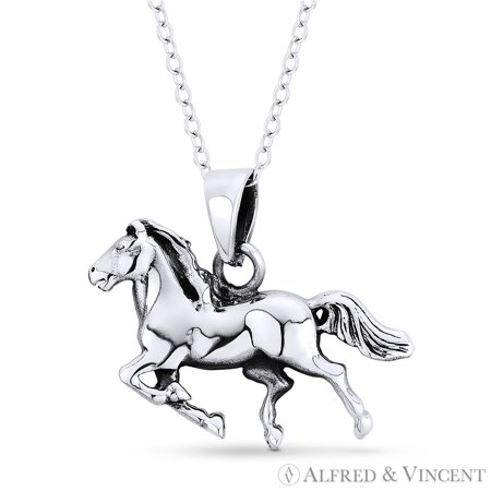 Galloping Stallion Horse Charm Animal Pendant & Cable Chain Necklace in .925 Sterling Silver