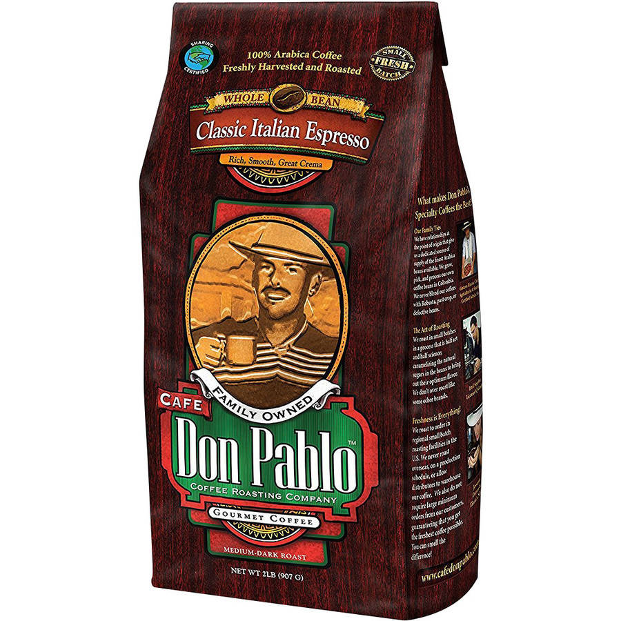 Cafe Don Pablo Classic Italian Espresso Dark Roast Whole Bean Coffee 2LB
