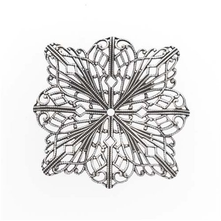 Antiqued Silver Plated Filigree Stamping - Ornate Square Flower 46mm (1)