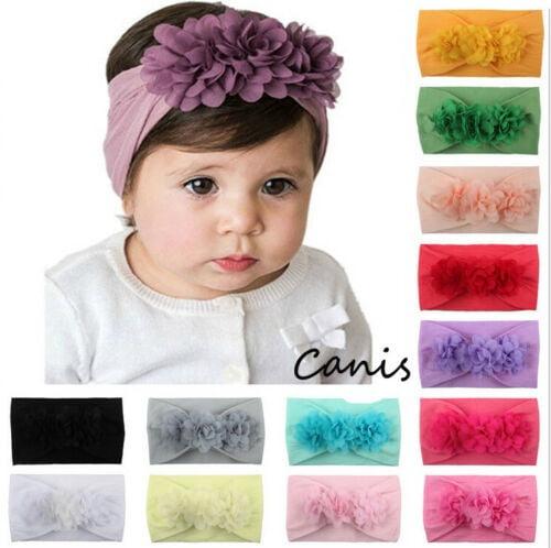 Floral Print Big Bow Baby Girl Hairband Soft Elastic Headband Turban Headwrap