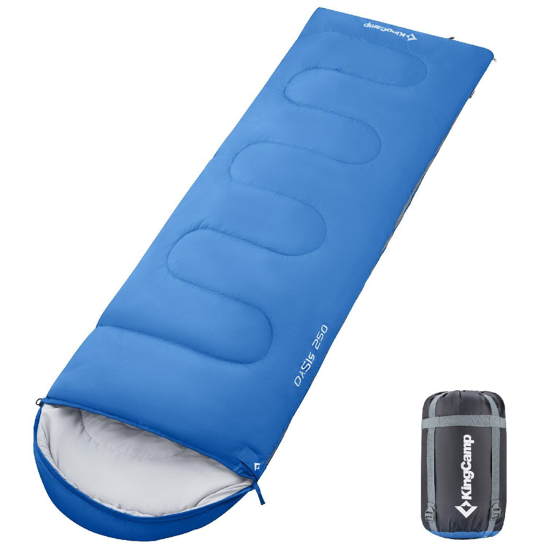 KingCamp Envelope Sleeping Bag 4 Season Lightweight Comfort with Compression Sack Camping Backpack Temp Rating 26F/-3C