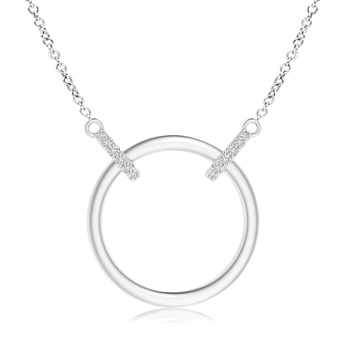 April Birthstone Pendant Necklaces Double-Bale Open Circle Diamond Necklace in Platinum (0.9mm Diamond)... by Angara.com