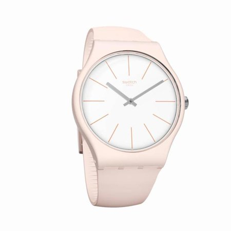 Swatch Unisex Beigesounds 41mm Pink Silicone Band Plastic Case Swiss Quartz White Dial Watch SUOT102