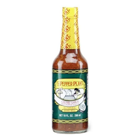 PEPPER PLANT Chunky Garlic Hot Pepper Sauce, 10 OZ garlic, hot pepper sauce, chunky garlic Chunky Garlic Hot Pepper Sauce