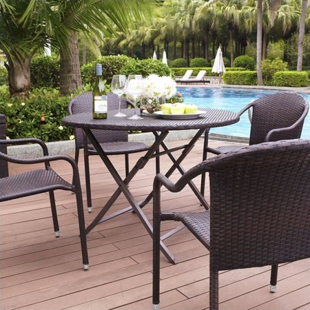 Crosley Furniture Palm Harbor 5 Piece Wicker Patio Dining Set ()