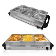 NutriChef AZPKBFWM33 Server and Food Warmer-3-Tray Buffet Server & Hotplate Easy to Clean Stainless Steel Portable Tabletop Electric Food Warming Tray, 175F Max Temp-for Parties & Events